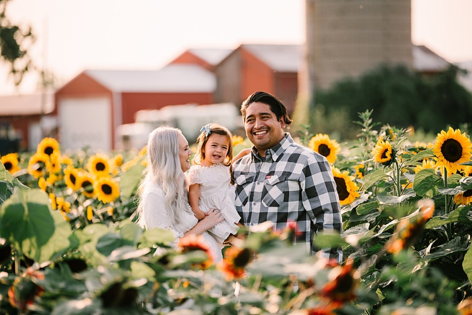 family cuddling in a field of sunflowers