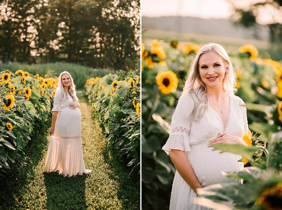 maternity photos in sunflower field