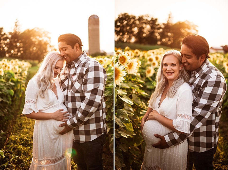 maternity photos at a sunflower field at sunset