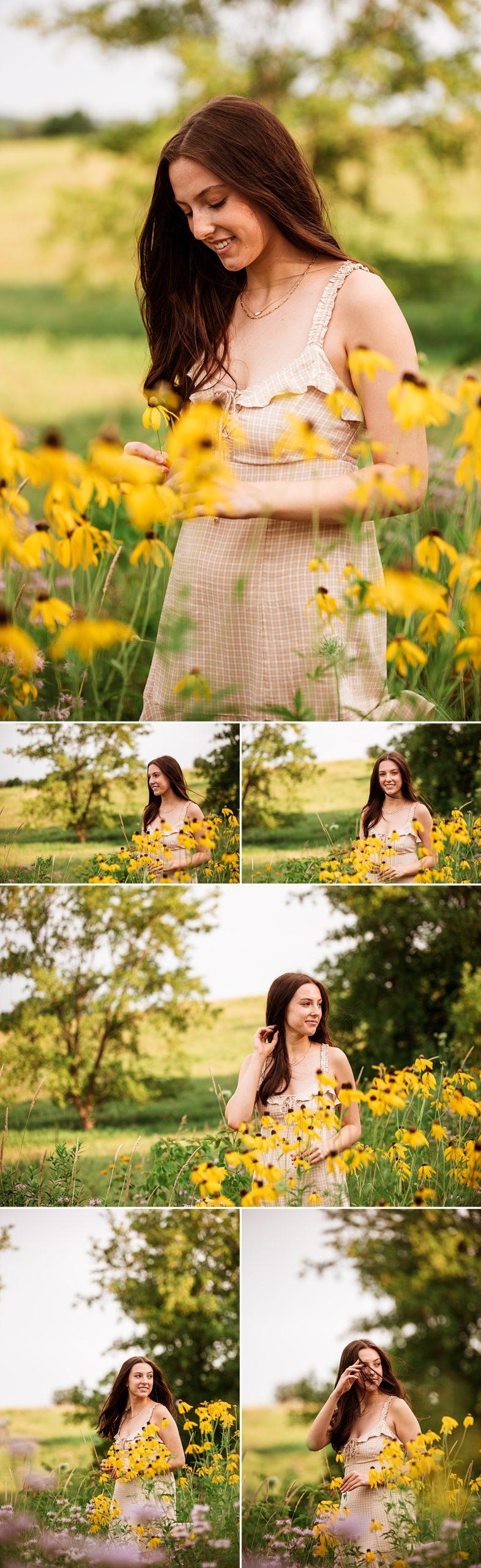senior girl in yellow flower field