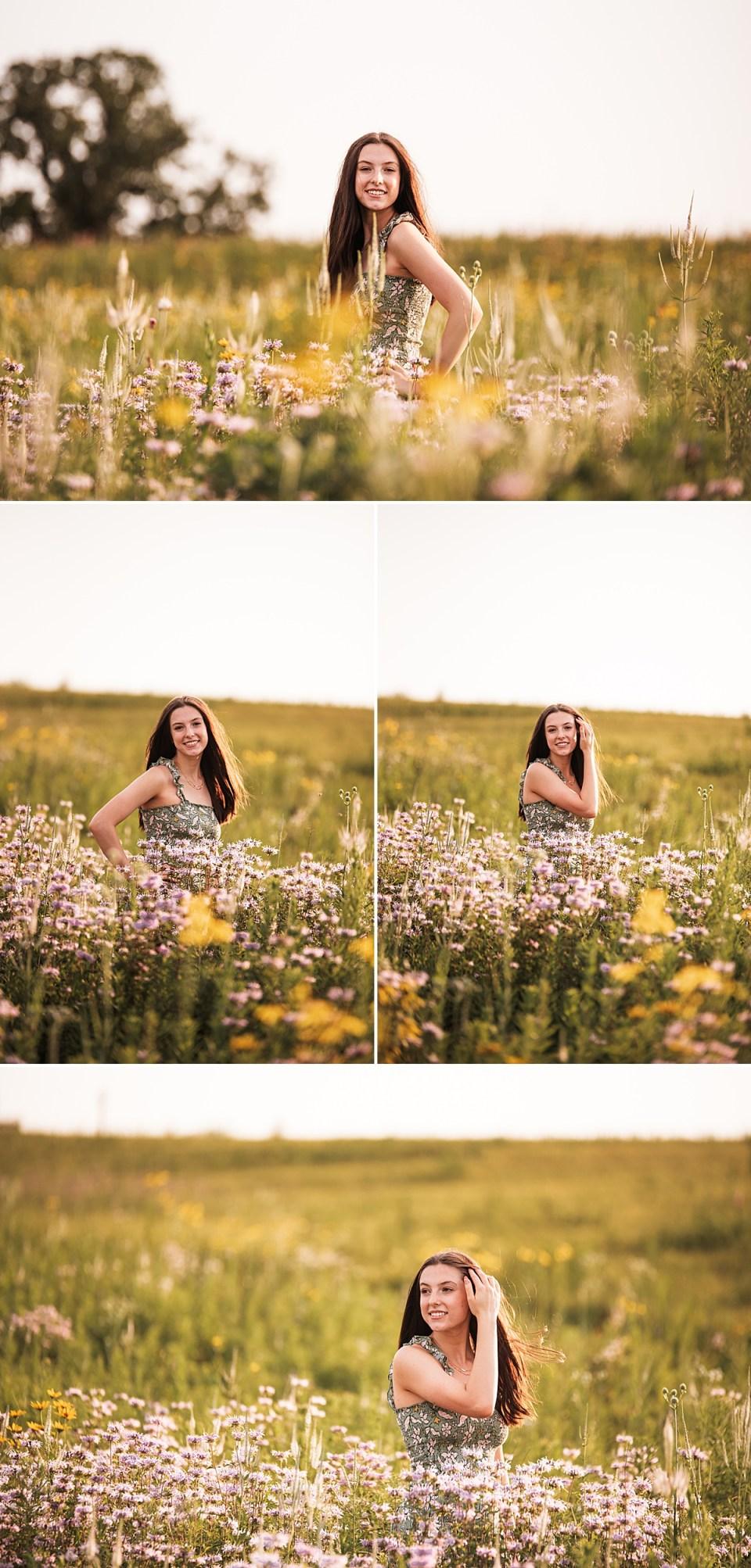 senior girl in purple flower field