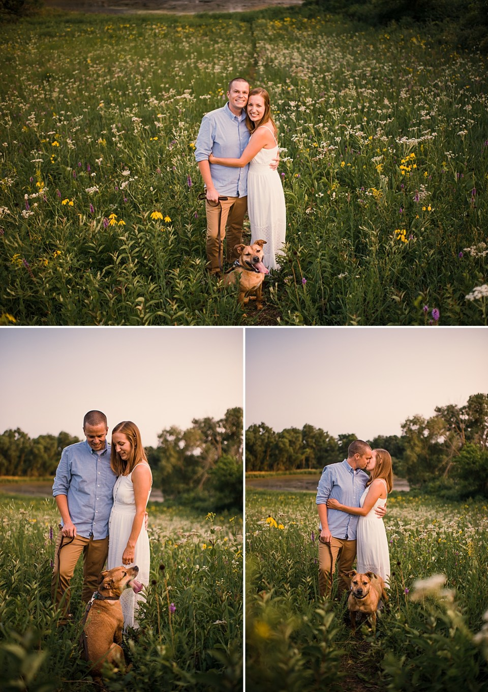 couple with dog at engagement session