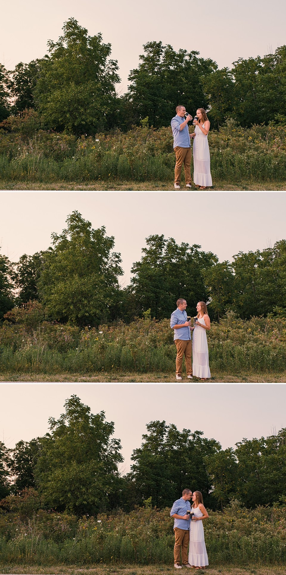 couple drinking beer at engagement session low daily burlington wisconsin