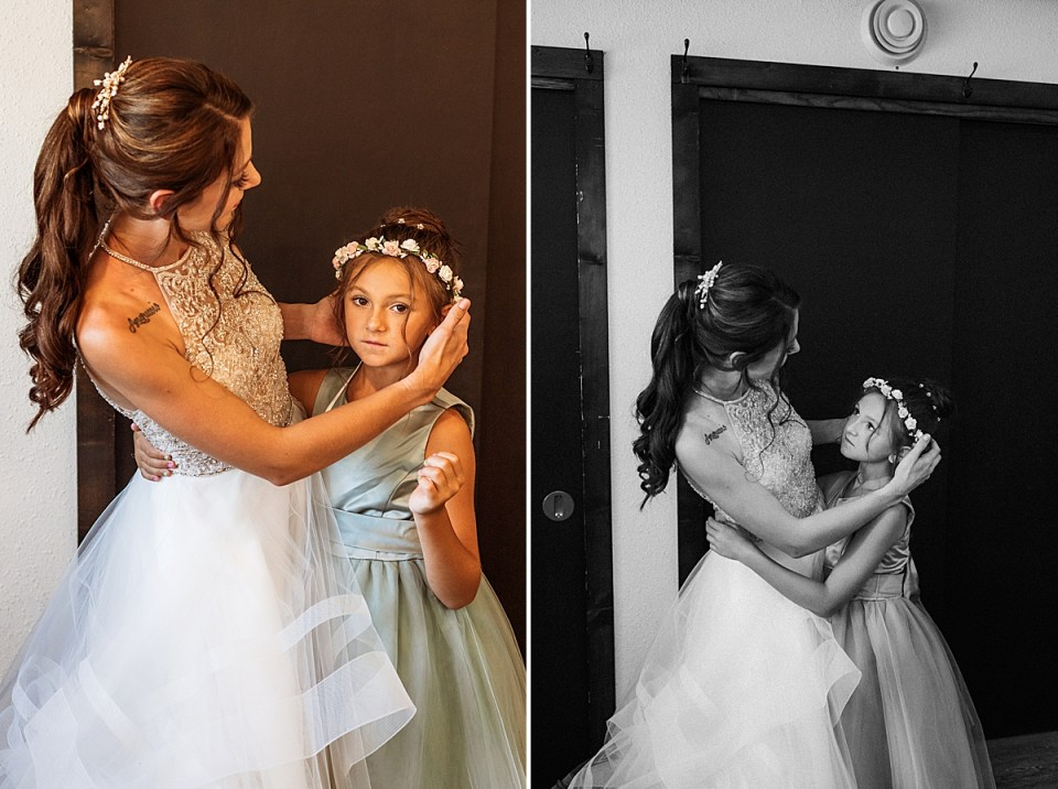 bride with daughter flower girl before the ceremony