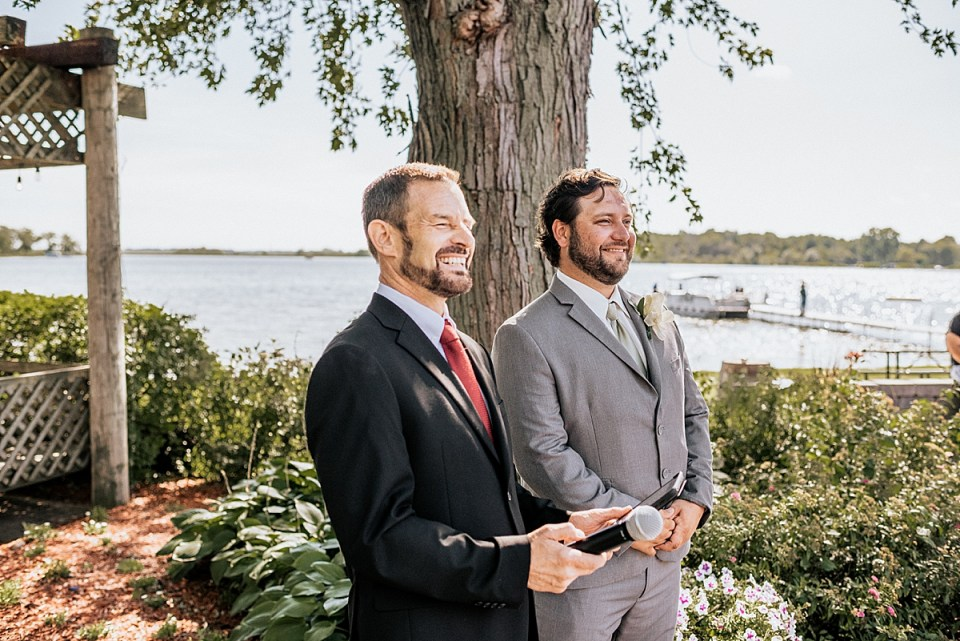 outdoor wedding ceremony at bass bay brewhouse
