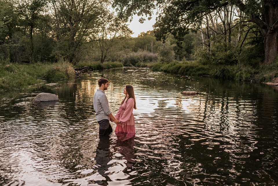 in the river engagement session at white river county park in lake geneva