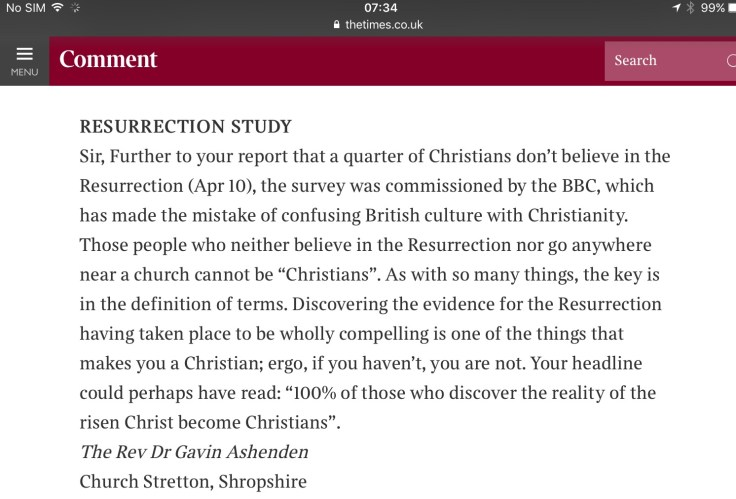 The Times - Letter -resurrection
