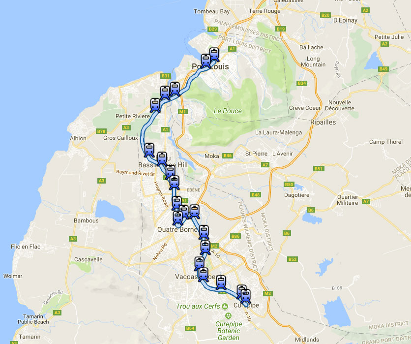 Metro Express Mauritius Route Map