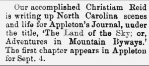 The Tarborough Southerner, September 10, 1975, six days after Reid's first chapter appeared in Littleton's Journal. Chronicling America.