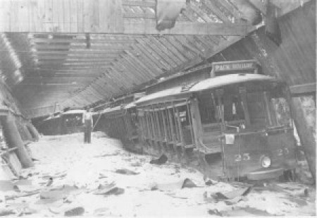Flooded streetcar barn at Riverside Park, July 1916. Pack Memorial Public Library.