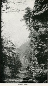 Photograph of Paint Rock. Harriet Adams Sawyer, Souvenir of Asheville and the Sky Land (1892). D. H. Ramsey Library Special Collections, University of North Carolina at Asheville.