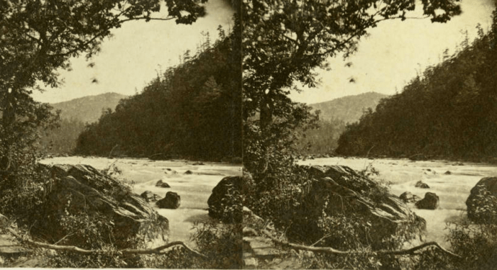 """Rufus Morgan stereograph, """"Distant Hills"""" on French Broad River, ca. 1870. University of North Carolina at Chapel Hill, Wilson Library, North Carolina Collection Photographic Archives"""