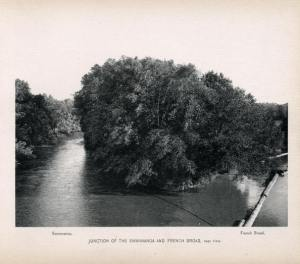 Junction of Swannanoa and French Broad Rivers. H. Taylor Rogers, Rogers' Asheville (1899). Courtesy of D. H. Ramsey Library, UNCA.