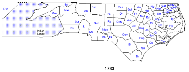 North Carolina Counties 1783 [interactive map]
