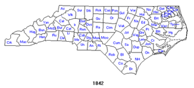 North Carolina counties 1842. [Click for interactive map; choose 1842] mapofus.org