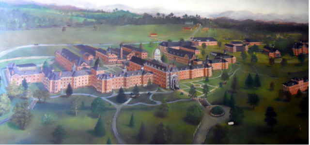 Painting of hospital by patient Harper Bond, 1914. From Carrie Streeter M.A. thesis. p. 3.