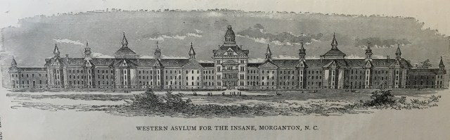 Architectural drawing of Western Insane Asylum, Morganton, ca. 1880? Illustrated Guide Book of the Western North Carolina Railroad (1882). North Carolina Collection, UNC-CH. The asylum opened in 1883.