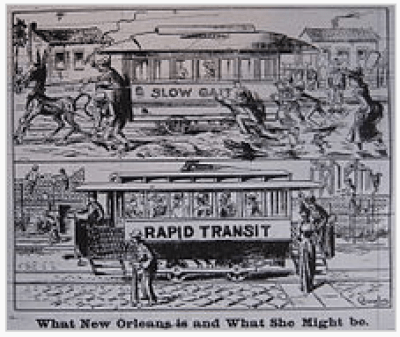 Editorial cartoon from New Orleans, advocating the switch from horsecars to electric streetcars, October 21, 1893. Wikipedia.