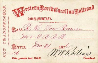 Boarding Pass for Western North Carolina Railroad, December 21, 1876. NCpedia.