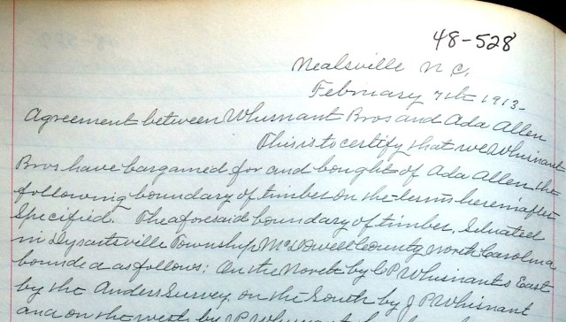 Deed for boundary of timber to Whisnant Bros., February 7, 1913; McDowell County, Bk.48/528,
