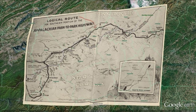 An example of a georeferenced map showing the 1934 proposed (but ultimately not followed) Tennessee route for the Blue Ridge Parkway overlaid on a present-day Google Earth image of the same location. From Driving Through Time.