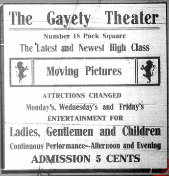 Advertisement for first event at the Gayety Theater, 5 N. Pack Square, November 5, 1907. Going to the Show.