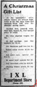 Asheville Citizen-Times, December 22, 1907, p. 8. Christmas merchandise for Christian clientele.