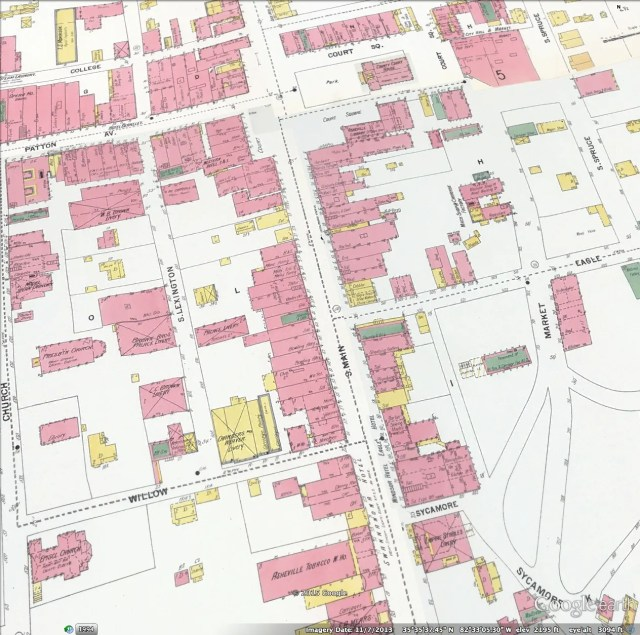 Sanborn insurance map, South Main and Eagle Street area, 1901 (p. 5). NC Maps UNC-CH. Click to see full size; click again when open.. NOTE: Very large file. Use scroll bars to move first to upper left corner. Colors denote building materials; street numbers are at street end of buildings.