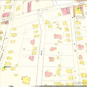 Asbury's walk to the car barn (green pins). Sanborn Fire Insurance Co. map, 1917.