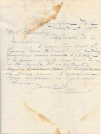 Asbury Whisnant to R. P. Enesley, Cliffside NC, November 25, 1915