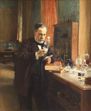 Pasteur in laboratory, Albert Edelfelt, 1885. Wikipedia.