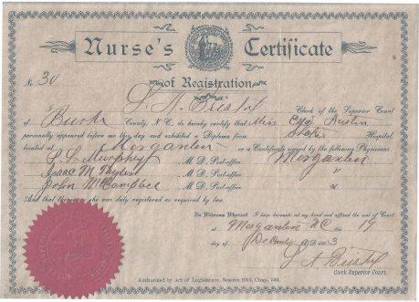 Ella's nursing certificate
