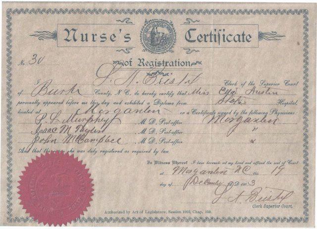 "Ella Austin's ""Nurse's Certificate of Registration,"" December 19, 1903. Private collection."