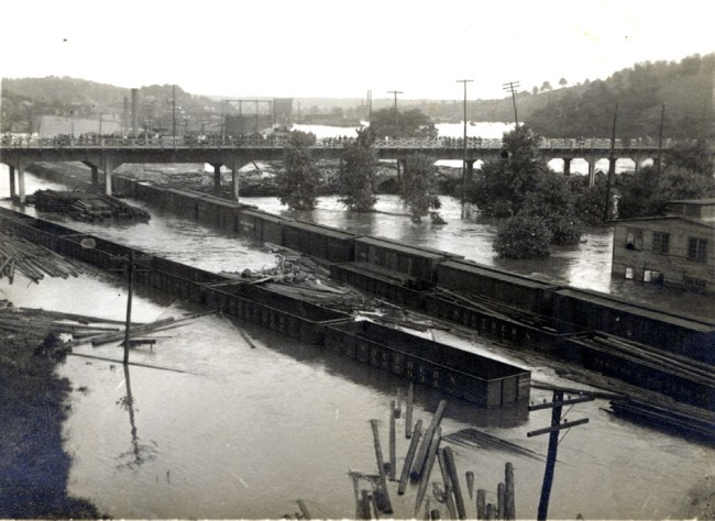Concrete bridge on French Broad River. Schandler Family Collection, UNCA.