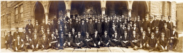 Asheville street Railway employees afterrstrike vote, Central Methodist Church. Asbury Whisnant at ---; George Keenan at---