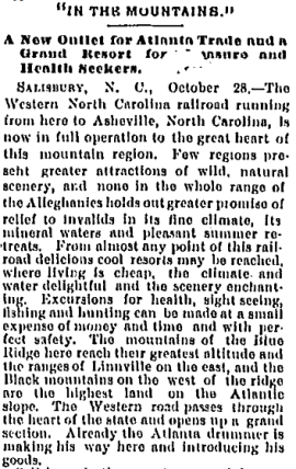 The Daily Constitution, Atlanta, October 30, 1880, p. 1. The first train reached Asheville