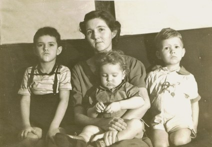 Mary Neal and 3 boys, ca. 1940