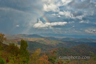 Rainbow and storm over the Blue Ridge Mountains