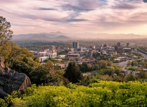 Asheville Vegan Society, view of the city and mountains