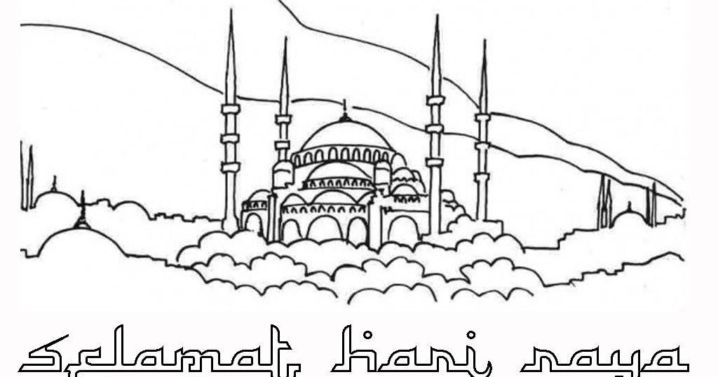 Contoh Gambar Mewarnai Selamat Hari Raya Idul Fitri Kataucap
