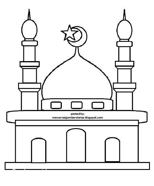 Contoh Gambar Gambar Masjid Untuk Belajar Mewarnai Kataucap