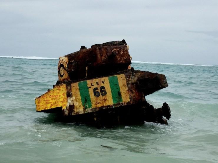 An old World War II tank at Flamenco beach at Culebra Island