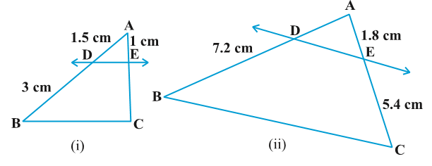 Class 10 triangles exercise 6.2 Question 1 figure