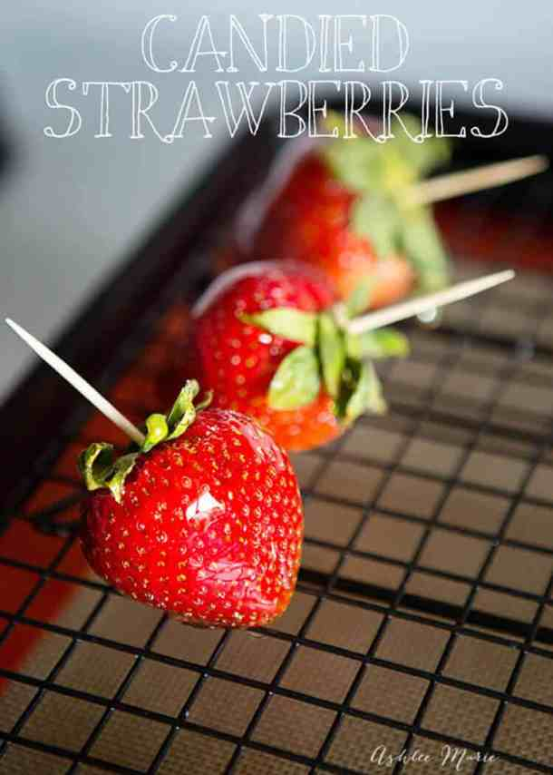 Candied strawberries bring a sweet crunch to your ripe berries