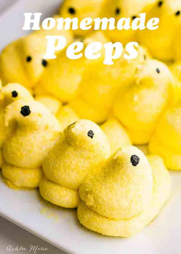 how to make your own marshmallow peeps, easy and delicious and so much fun - recipe and video tutorial
