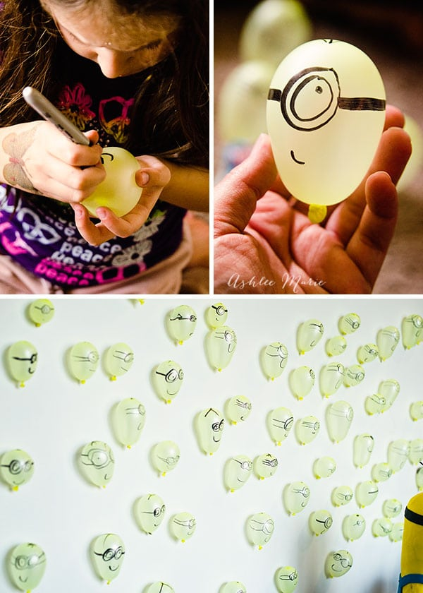 use water balloons and a sharpie to create a backdrop of hundreds of mini minions