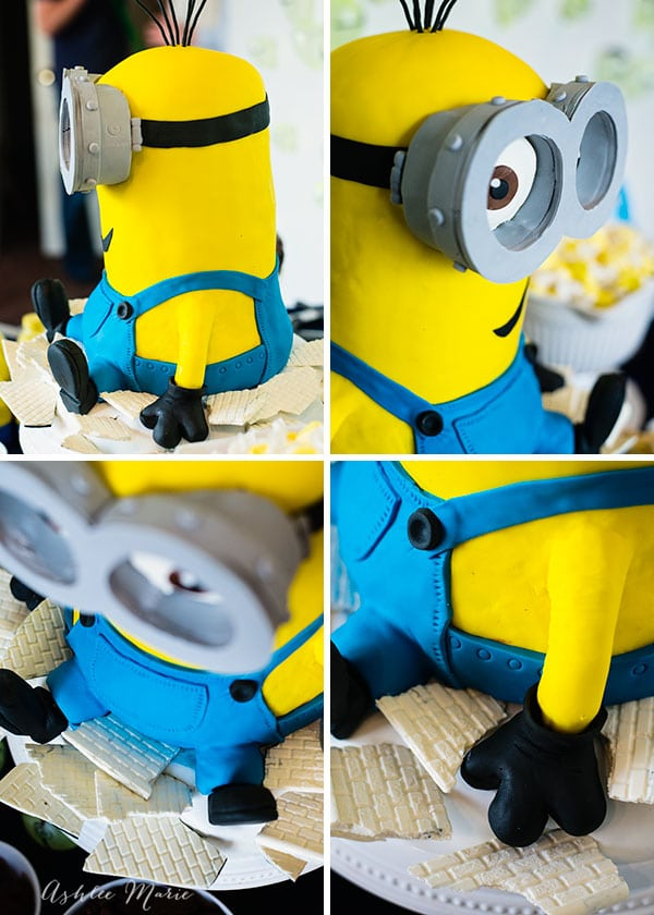 When the minion kevin grows and explodes out of Scarlett Overkill's house he leaves behind a lot of rubble, this is our huge Kevin ckae sitting atop candy rubble