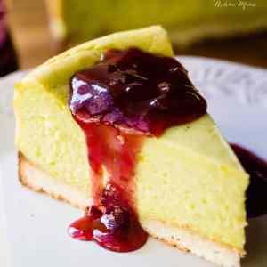 pistachio cheesecake with coconut macaroon crust