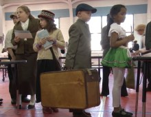 4th graders simulate nerves of Ellis Island passage
