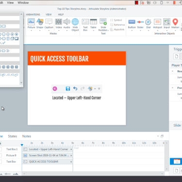 Quick Access Toolbar and Shortcuts in Articulate Storyline 360